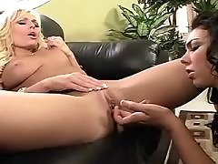 Lesbians lick each other in orgy