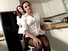 Two yummy lesbians share huge dildo