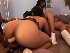 Lovely black lesbian angels make hot sex